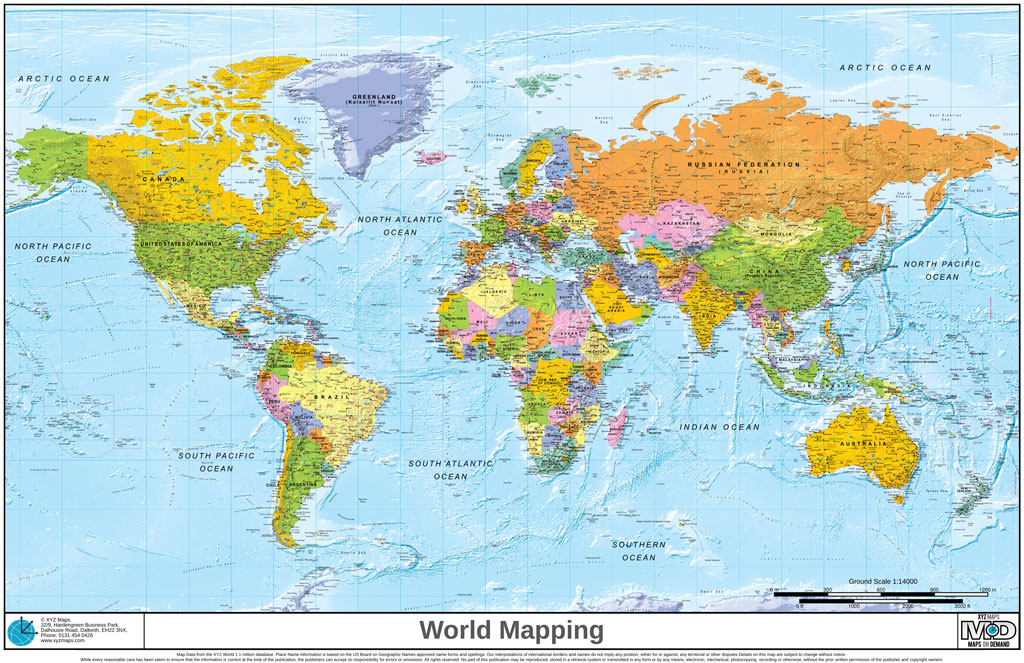Maps On Demand World Regional Mapping XYZ Maps - Worl maps